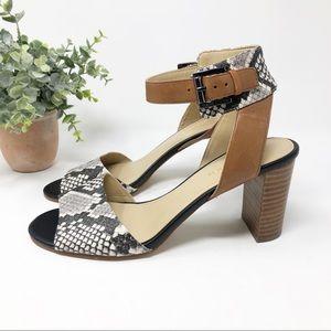 Marc Fisher Genette Snake Print & Tan Sandal